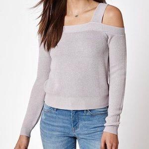 K&K Lilac/Lavender Cold Shoulder Crop Sweater | XS